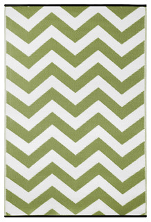 Psychedelia Indoor/Outdoor Rug, Leaf Green and White, 90x150 cm