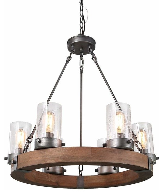 Laluz 6 Light Wood Chandeliers Rustic Pendant Lighting Circular Ceiling Lights