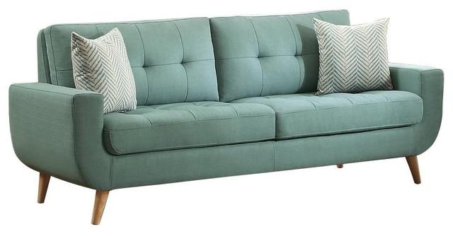 Dimsdale Mid Century Modern Sofa, Teal Fabric