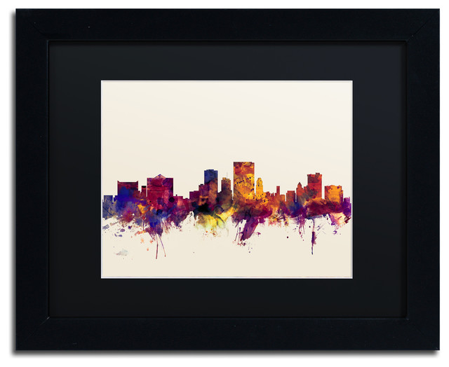 Michael Tompsett El Paso Texas Skyline Matted Framed Art  : traditional prints and posters from www.houzz.com size 640 x 524 jpeg 51kB
