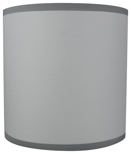 Clic Drum Cotton Lamp Shade 10 X10 Off White Gray Trim