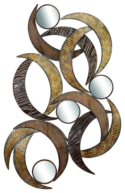 Metal Wall Plaque modern reflections metal mirror wall plaque, beige - contemporary