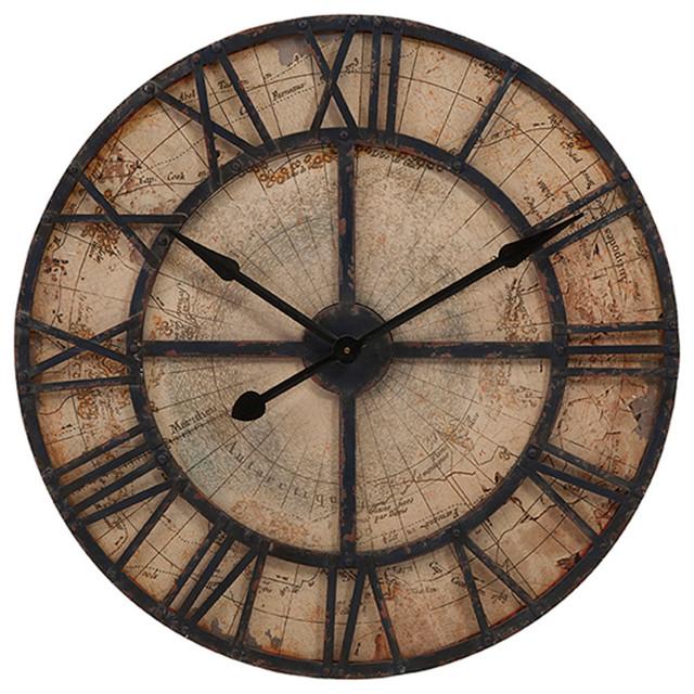 Imax Corporation Bryan Map Wall Clock Gray Traditional Wall Clocks