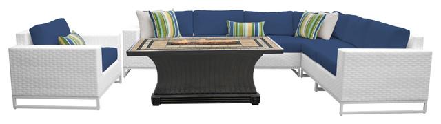 Key Largo 8-Piece Outdoor Wicker Patio Furniture Set, Navy.