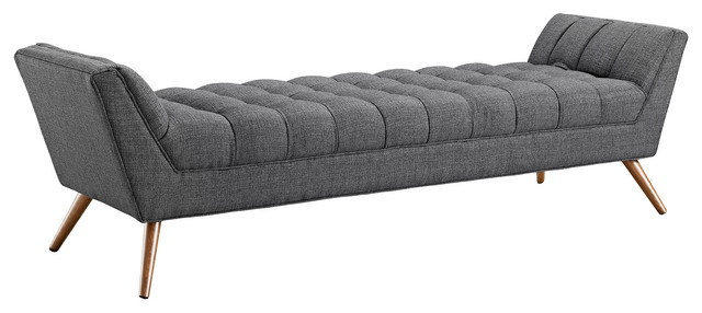 Modern Contemporary Fabric Bench , Gray, Fabric.