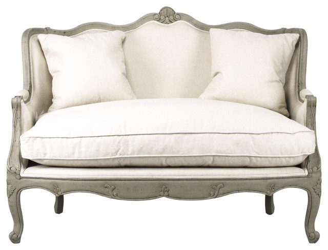 Adele French Country Distressed Sage Green And White Settee Loveseat