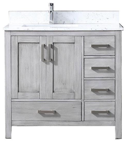 Single Vanity White Carrera Marble Top, White Bathroom Vanity With Carrera Marble Top