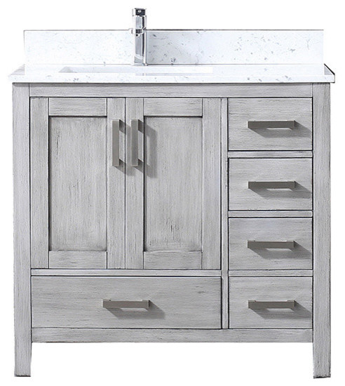 36 Quot Single Vanity White Carrera Marble Top White Square