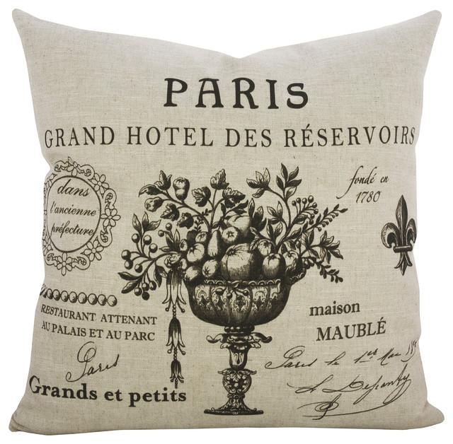 Paris Script Linen Pillow.