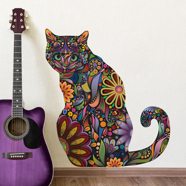 Sitting Cat Wall Sticker Contemporary Wall Decals Part 54