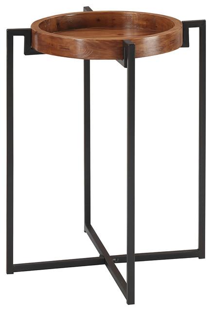 Nordic Round Tray End Table, Dark Walnut/black.