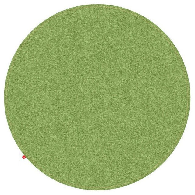 Emilia Lime Green Rug, Light Orange Stitching, 150 cm