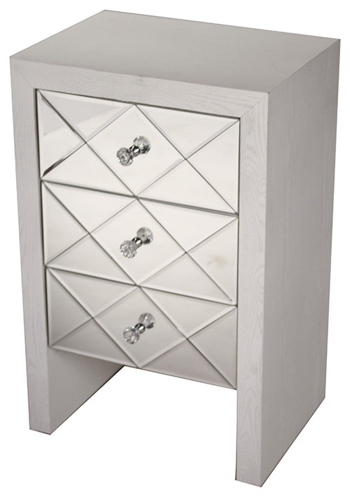 Wood Raised Accent Cabinet With 3 Mirrored Glass Drawers, Antique White