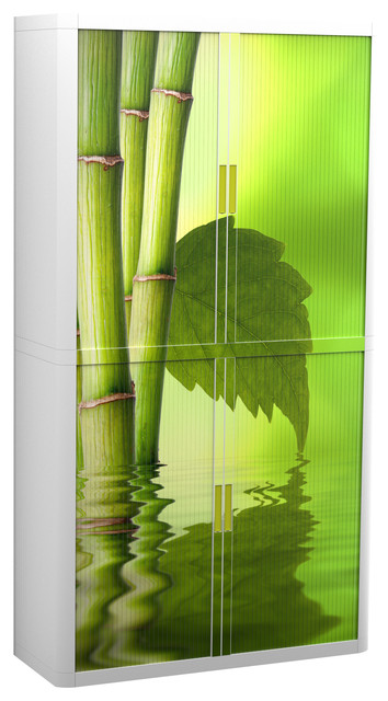 Paperflow Easyoffice Storage Cabinet, 80 Tall, Four Shelves, Bamboo, Leaf.