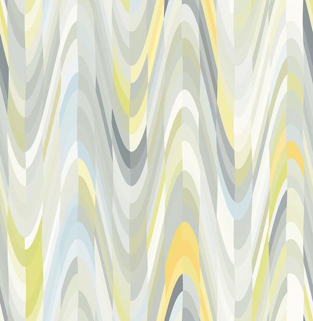 . Aurora Yellow Geometric Wave Wallpaper Bolt