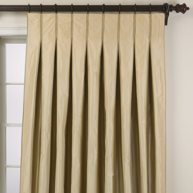 Taffeta stripe inverted pleat panel traditional-curtains