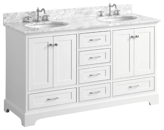 Harper 60 Sink Bathroom Vanity, Top: Carrara, Double, White, 60 by Kitchen Bath Collection