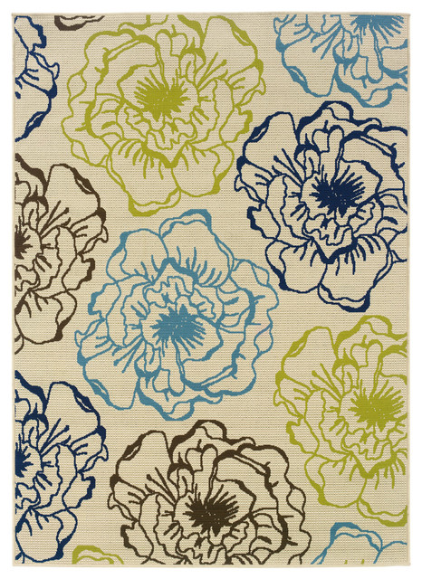 Coronado Indoor And Outdoor Floral Ivory And Blue Rug, 2&x27;5x4&x27;5.