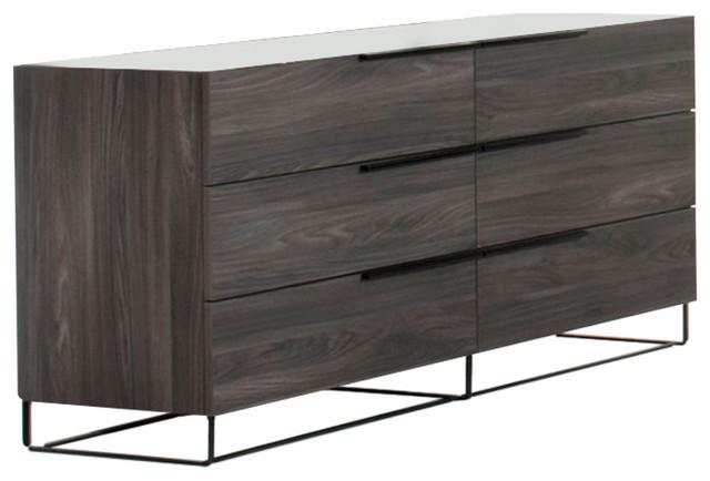 Nova Domus Enzo Italian Modern Gray Walnut Dresser.