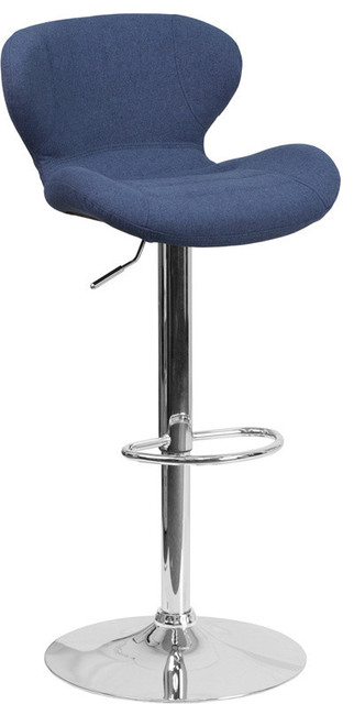 Contemporary Black Fabric Adjustable Height Barstool With