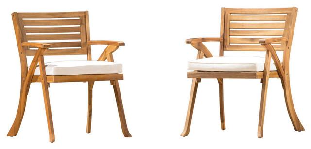 Brilliant Gdf Studio Helen Outdoor Teak Acacia Wood Arm Chair Teak Cream Set Of 2 Lamtechconsult Wood Chair Design Ideas Lamtechconsultcom