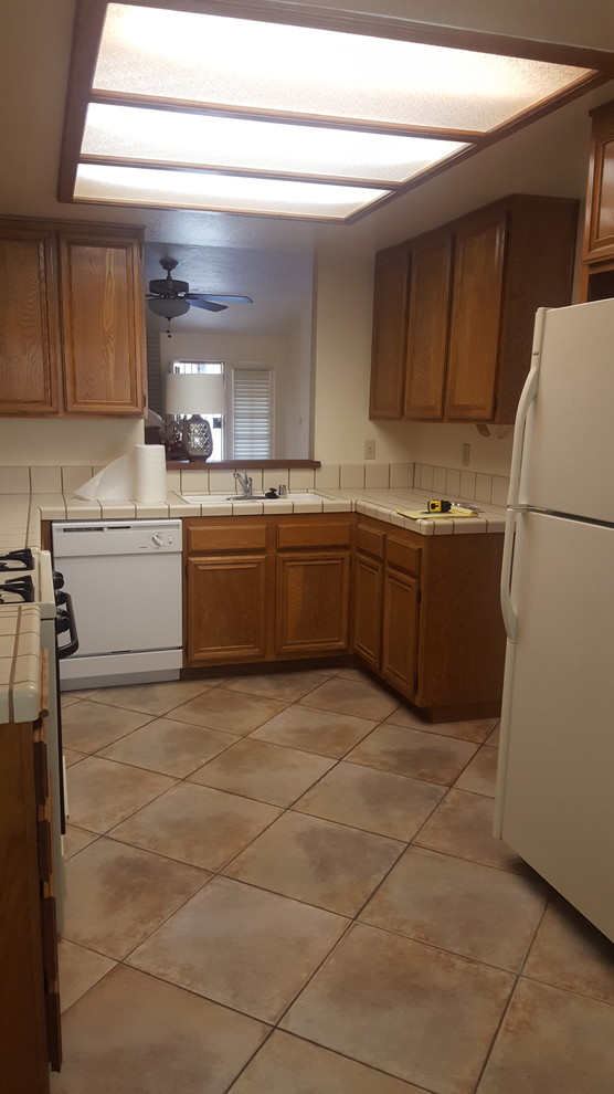 Before: Old outdated kitchen.