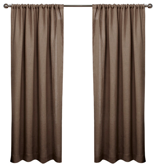 Exclusive Home Burlap Rod Pocket 96 Inch Curtain Panel Pair