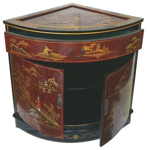 Oriental Corner Cabinet Hand Painted Red And Black & Gold Landscape