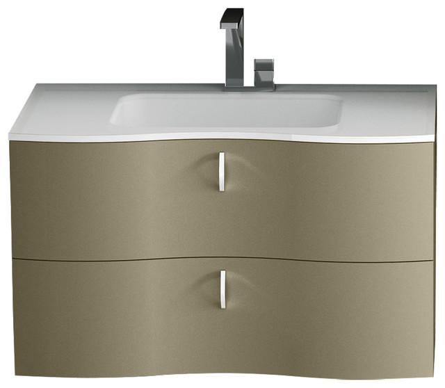 Isa Bagno Galatea 2 Drawer Vanity With Resin Washbasin, Glossy Khaki