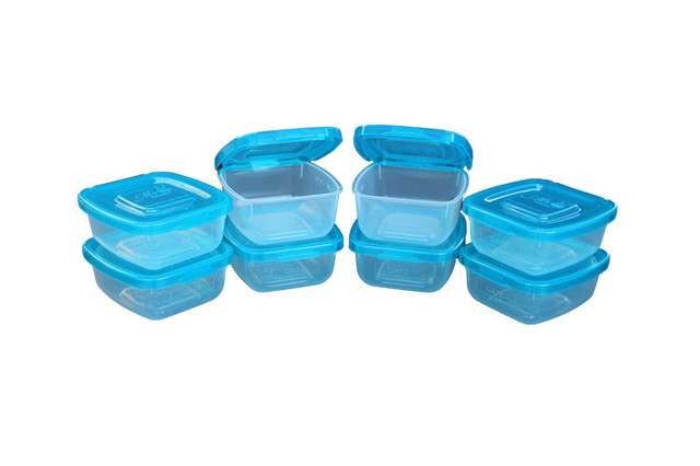 8 Piece Half Cup Storage Container Set With Patented Permanently Attached  Lids