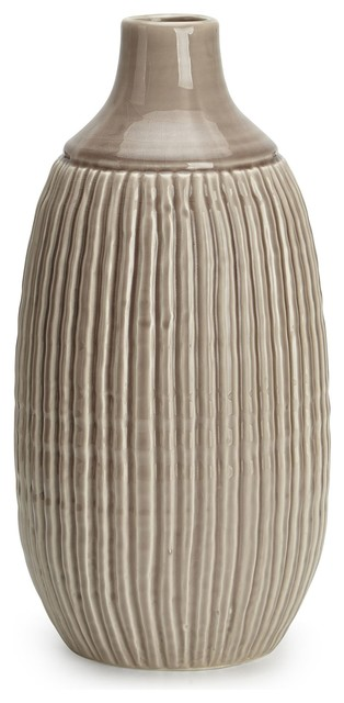 Felicia Large Striped Vase, Beige