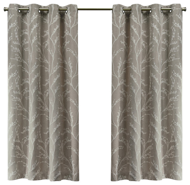 Kilberry Woven Blackout Grommet Top Window Curtain Panel Pair, 52x63, Natural