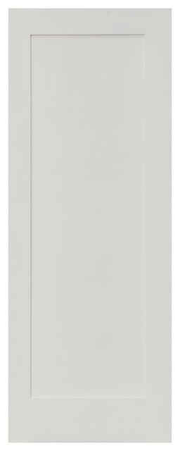 Shaker 1 Panel Primed Solid Core Single Prehung Interior Door, 28x96, Right