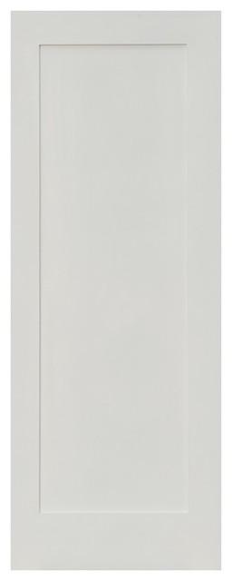 Merveilleux Shaker 1 Panel Primed Solid Core Single Prehung Interior Door, 28x96, Right