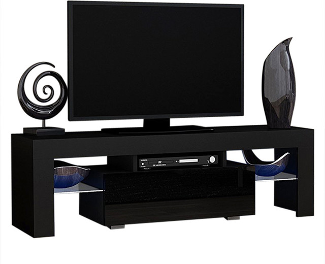 milano 130 modern led tv cabinet console 55 inch tv stand black