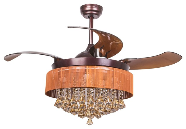 Crystal Led Ceiling Fan With Foldable Blades, Coffee Brown.