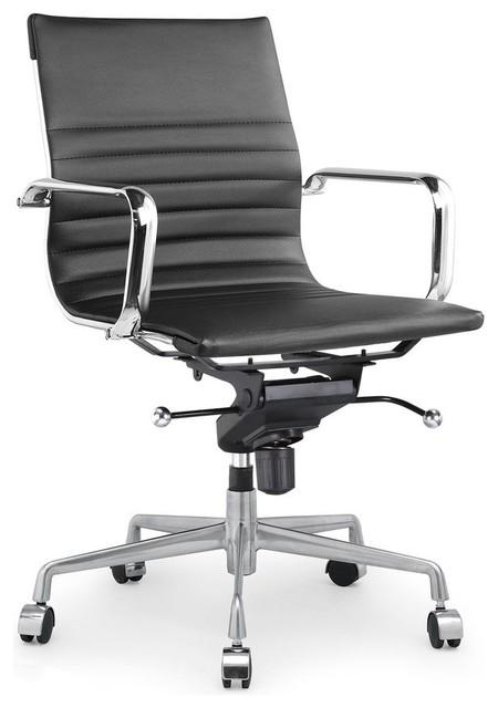 Decade Black Modern Classic Aluminum Office Chair, Black Chrome, Set Of 2.