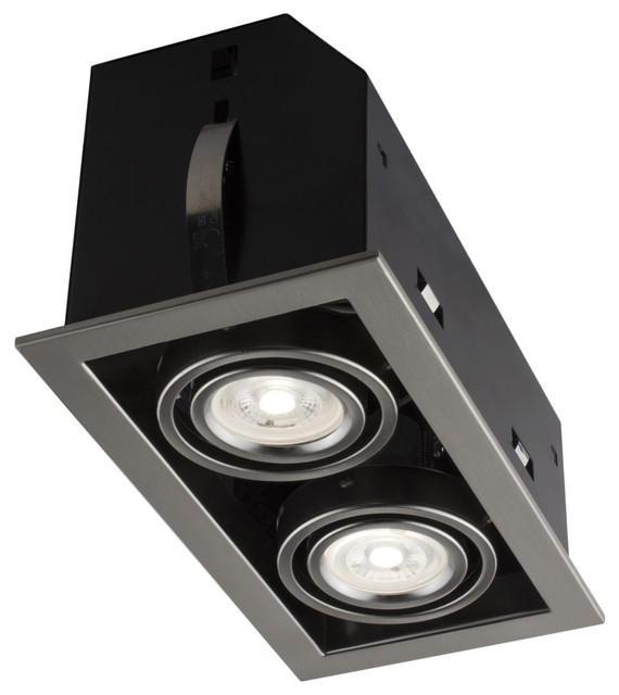 Double Cube Brushed Chrome Recessed LED Lighting Kit, GU10 Bulb Included