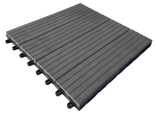 "Composite Concrete Gray Interlocking Deck Tiles, 12""x12"", Set of 10"