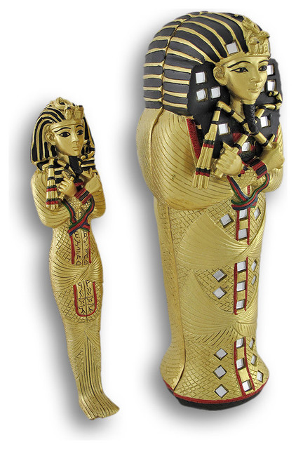 Egyptian King Tut Sarcophagus Box With Mummy Inside Coffin