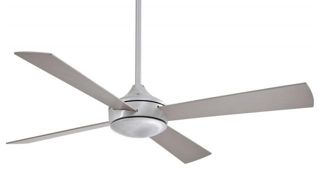 One Light Ceiling Fan, Brushed Aluminum, Mini Candelabra.