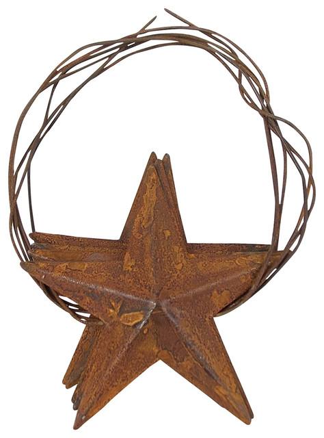 Set Of 3 Large Rusty Star Tree Garland.