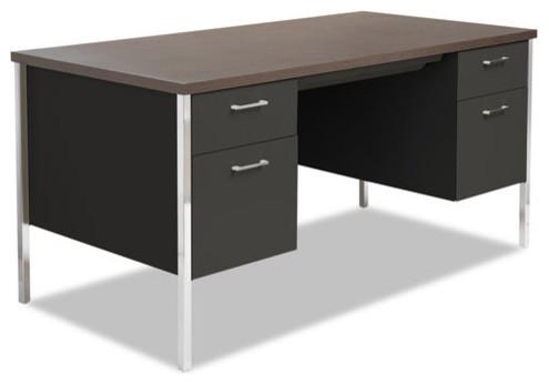 Alera Double Pedestal Steel Desk Metal Cherry Putty 60