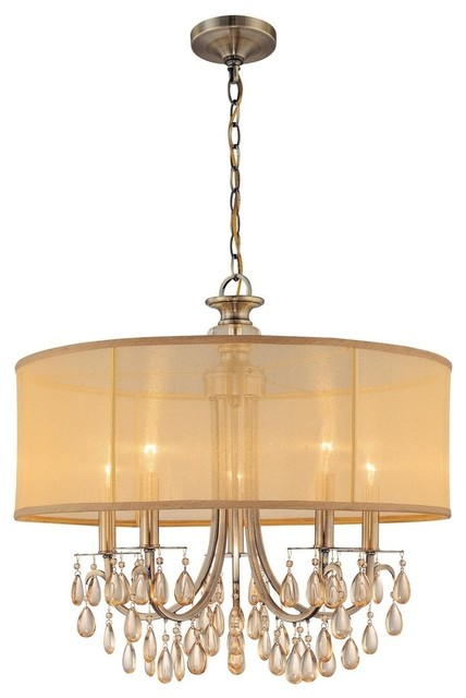 Vintage Foyer Lighting : Crystorama antique brass dining and foyer chandelier