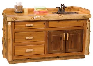 Cedar Vanity Without Top, Sink Center, 5' - Rustic ...
