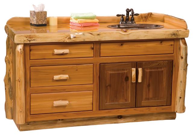 Cedar Vanity Without Top, Sink Double Sink, 5' rustic-bathroom-vanities - Shop Houzz Fireside Lodge Furniture Company Cedar Vanity Without