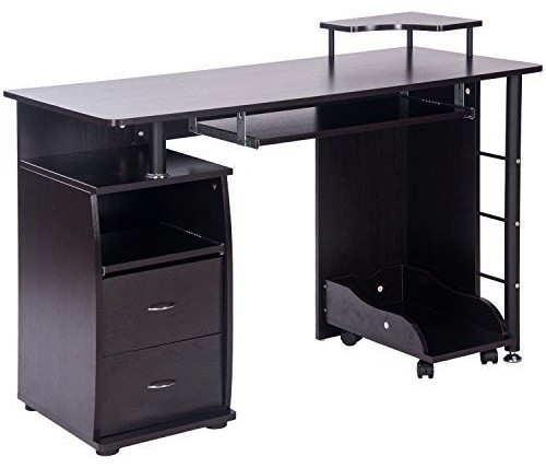 Home Office Computer Desk Table With, Flash Furniture Computer Desk With 3 Drawer Pedestal Mahogany