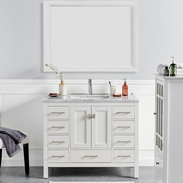 "Eviva London Bathroom Vanity, White, 48"""