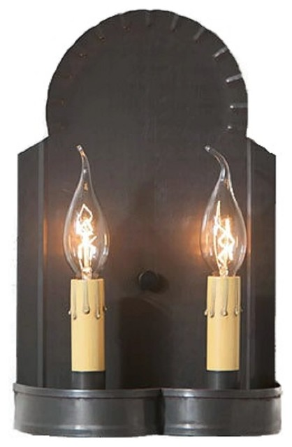 Industrial Candle Wall Sconces : Hanover Double Candle Sconce, Handcrafted Blackened Tin - Industrial - Wall Sconces - by Saving ...