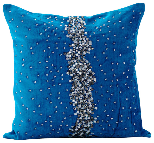 Blue Decorative Pillow Covers Silk Blue Diamond Girl Contemporary Decorative Pillows By The Homecentric Houzz